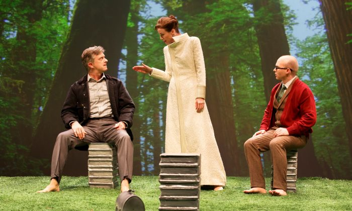 "CS Lewis The Great Divorce  (L–R) Michael Frederic, Christa Scott-Reed and Joel Rainwater in a place that is nearly heaven from C.S. Lewis's ""The Great Divorce."" (Joan Marcus)"