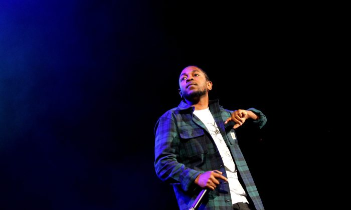 NEW YORK, NY - OCTOBER 22:  Rapper Kendrick Lamar performs onstage during 105.1's Powerhouse 2015 at the Barclays Center on October 22, 2015 in Brooklyn, NY.  (Photo by Bennett Raglin/Getty Images for Power 105.1's Powerhouse 2015)