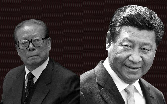 Former leader of China Jiang Zemin (L) and current leader Xi Jinping. (Wang Zhao & Hagen Hopkins/Getty Images)