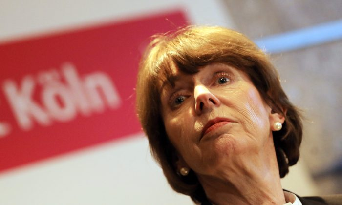 Mayor of Cologne Henriette Reker attends a press conference on January 5, 2016.  The German government Tuesday condemned dozens of apparently coordinated sexual assaults against women on New Year's Eve in the western city of Cologne blamed on Arab men but warned against anti-migrant scapegoating. (Oliver Berg/AFP/Getty Images)