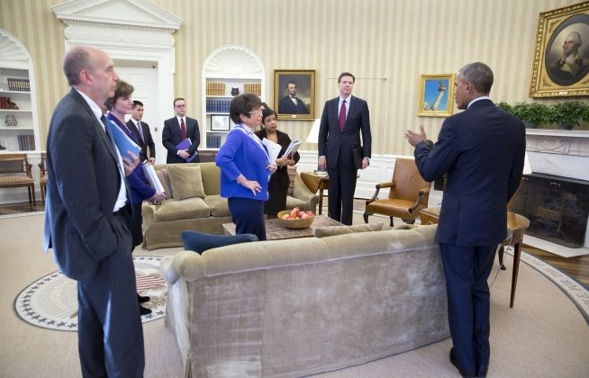 President Barack Obama speaks with the attendees following a meeting in the Oval Office on the executive actions he can take to curb gun violence, Jan. 4, 2016. Listening to the President, from left: Neil Eggleston, Counsel to the President; Deputy Attorney General Sally Yates; Eric Nguyen, Associate Counsel to the President; Michael Bosworth, Deputy Counsel to the President; Senior Advisor Valerie Jarrett; Attorney General Loretta Lynch; Natalie Quillian, Deputy Assistant to the President (partially hidden behind the Attorney General) and FBI Director James Comey. (Official White House Photo by Pete Souza)