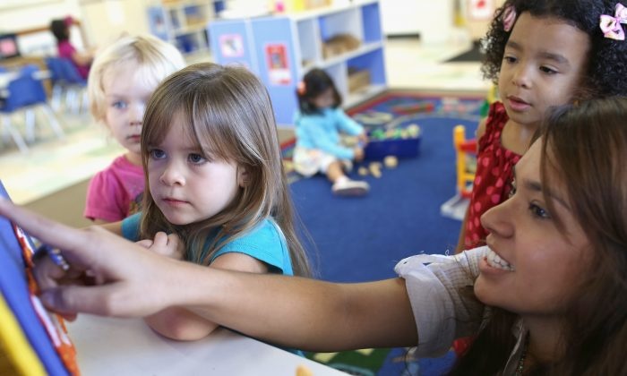 Children at Scripps Ranch KinderCare in San Diego play in their classroom in San Diego, CA., October 1, 2013. (Robert Benson/Getty Images for Knowledge Universe)