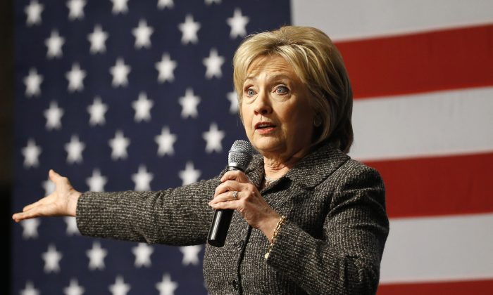In this Jan. 12, 2016, photo, Democratic presidential candidate Hillary Clinton speaks during a campaign event at Iowa State University in Ames, Iowa. (AP Photo/Patrick Semansky)