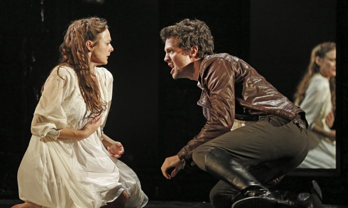 "Beatrice-Joanna (Sara Topham) and Alsemero (Christian Coulson) in the Red Bull Theater's production of Thomas Middleton and William Rowley's rarely-performed 1622 Jacobean work ""The Changeling."" (Carol Rosegg)"