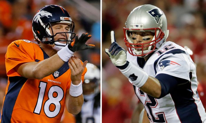 Peyton Manning (L) has won five MVP awards and one Super Bowl. Meanwhile his main rival Tom Brady has won a pair of MVPs while delivering four Super Bowl victories. (AP Photo/File)