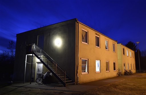 A migrant shelter is pictured in Kerpen, Germany, Monday evening, Jan. 18, 2016. A first suspect of the New Years Eve sexual assaults and robberies in Cologne from the Kerpen shelter was arrested over the weekend. (AP Photo/Martin Meissner)