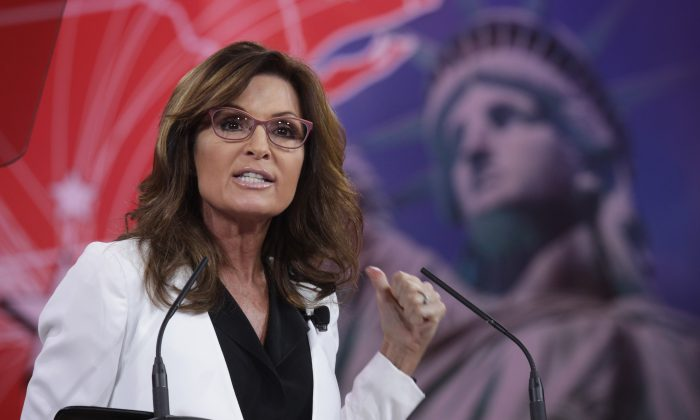Former Alaska Governor Sarah Palin addresses the 42nd annual Conservative Political Action Conference (CPAC) February 26, 2015 in National Harbor, Maryland. (Alex Wong/Getty Images)
