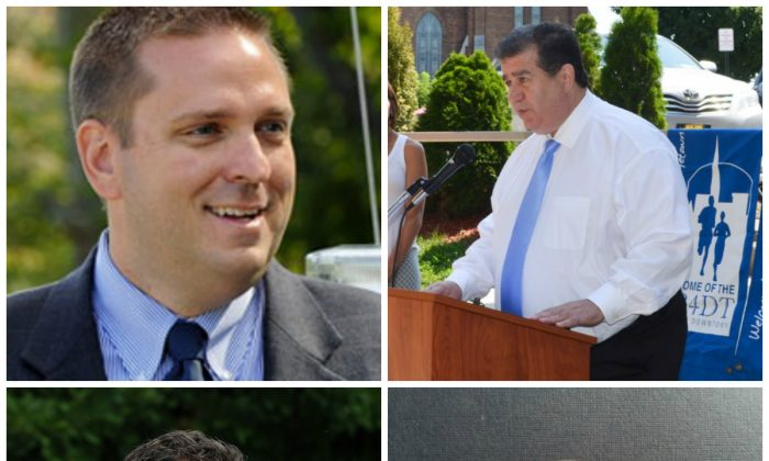 County Executive Steven Neuhaus (top left), Middletown Mayor Joseph DeStefano (top right) and Assemblyman James Skoufis (bottom left).