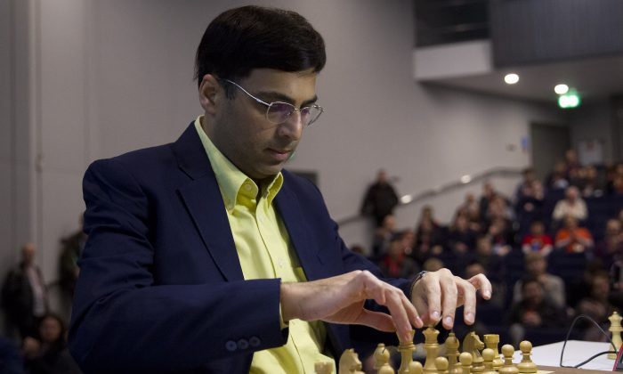 Indian chess player Vishy Anand prepares to make a move during his match against British chess player Michael Adams during the London Chess Classic tournament, part of the Grand Chess Tour 2015, in London on December 4, 2014. (JUSTIN TALLIS/AFP/Getty Images)