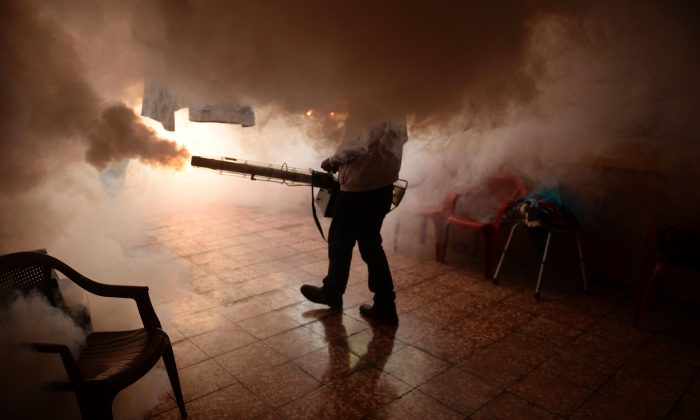 A Health Ministry employee fumigates a home against the Aedes aegypti mosquito to prevent the spread of the Zika virus in Soyapango, six km east of San Salvador, on January 21, 2016. (MARVIN RECINOS/AFP/Getty Images)