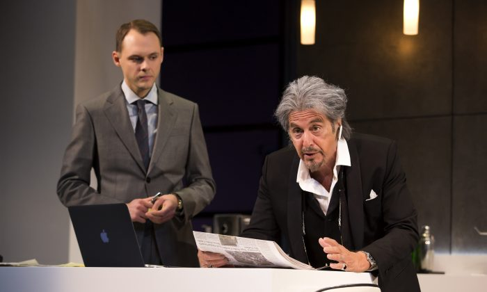 Carson (Christopher Denham) is learning from his boss and billionaire Mickey Ross (Al Pacino). (Jeremy Daniel)