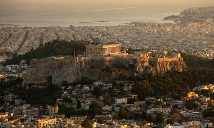 A view of the Acropolis Hill and the Parthenon viewed from Lycabettus Hill in Athens, Greece, on July 8, 2015. (Christopher Furlong/Getty Images)