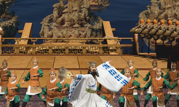 "A scene from ""Capturing Arrows with Boats of Straw,"" a story-dance based on a chapter from the great historical novel ""Romance of the Three Kingdoms."" (Shen Yun Performing Arts)"