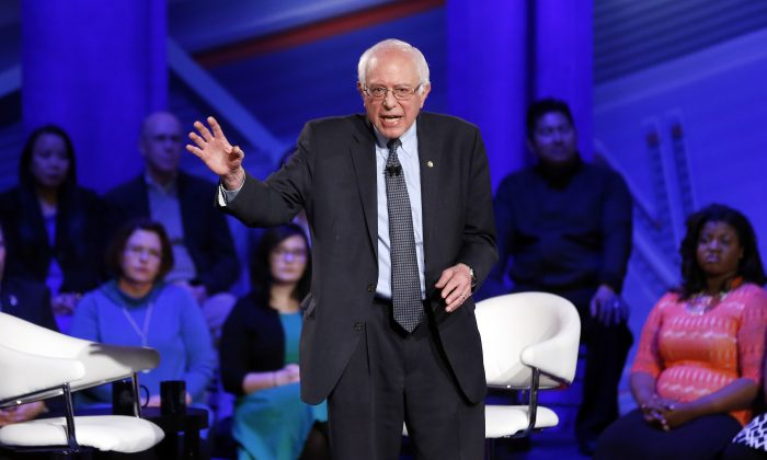 Democratic presidential candidate, Sen. Bernie Sanders, I-Vt., speaks during a CNN town hall at Drake University in Des Moines, Iowa, Monday, Jan. 25, 2016. (AP Photo/Patrick Semansky)