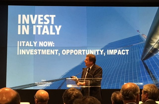 "Italy's Deputy Minister of Economic Development Carlo Calenda at the ""Invest in Italy"" global roadshow meeting at Bloomberg headquarters in New York City on January 11, 2016."