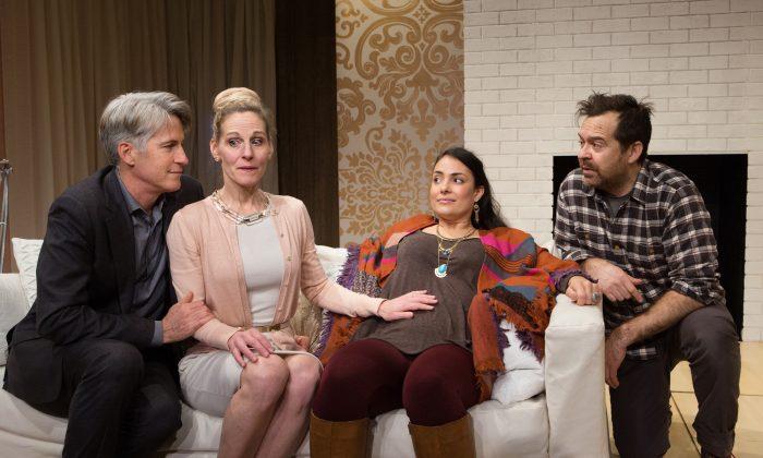 """Rick Roberts, Philippa Domville, Nicola Correia-Damude, Paul Braunstein in """"Within the Glass."""" (Cylla von Tiedemann)"""