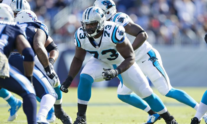 Offensive tackle Michael Oher has started every game for the Carolina Panthers this season. (Wesley Hitt/Getty Images)
