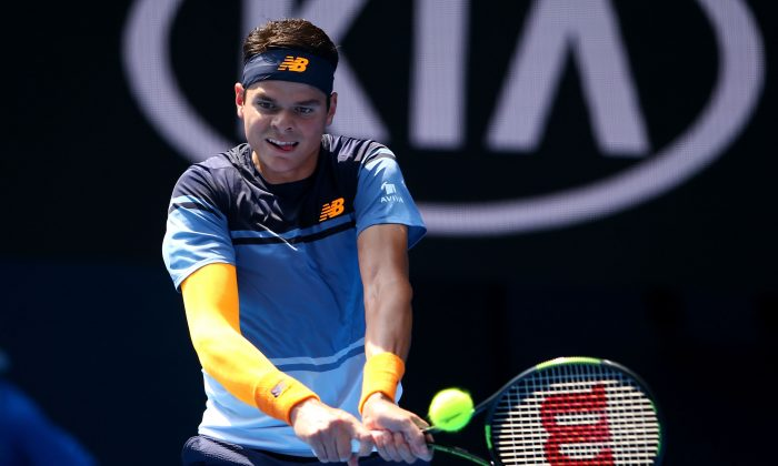 Milos Raonic plays a backhand in his fourth round match against Stan Wawrinka at the 2016 Australian Open Jan. 25, 2016 in Melbourne, Australia. (Mark Kolbe/Getty Images)