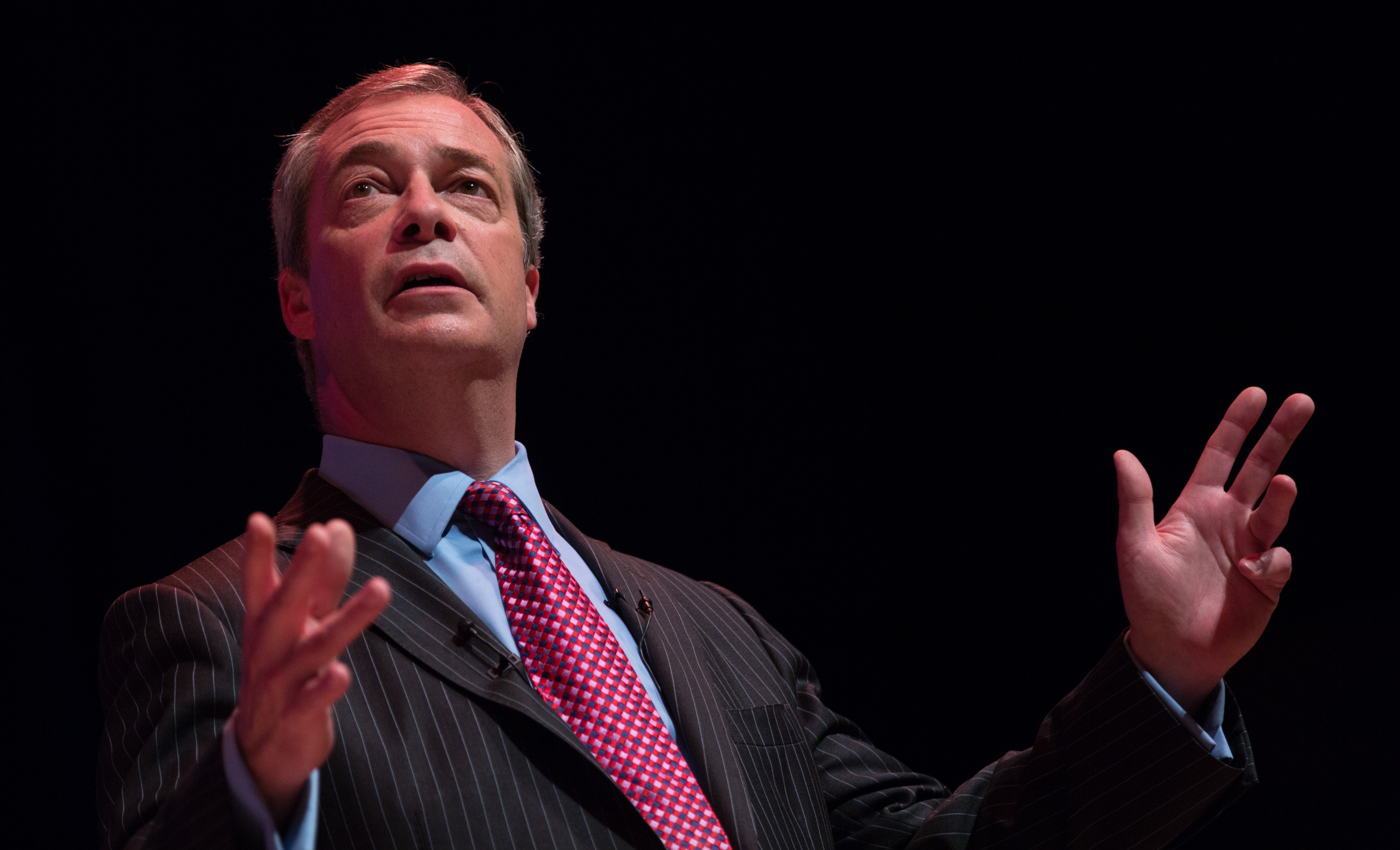 "UKIP leader Nigel Farage addresses supporters at a ""Say No to Europe"" meeting at the Anvil in Basingstoke, England, on Nov. 16, 2015. The right-wing Euroskeptic supports the British exit from the European Union. (Matt Cardy/Getty Images)"