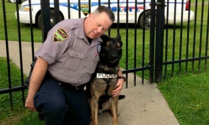 Retired Officer Matthew Hickey with Ajax, his K-9 partner he wants to retire with him. (Screenshot/GoFundMe)