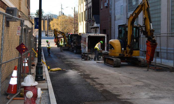 King Street Walkway project in Middletown on Feb. 2, 2016. (Yvonne Marcotte/Epoch Times)