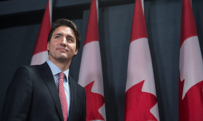 Canadian Liberal Party leader Justin Trudeau arrives to give a press conference in Ottawa on Oct. 20, 2015, after winning the general elections. (Nicholas Kamm/AFP/Getty Images)