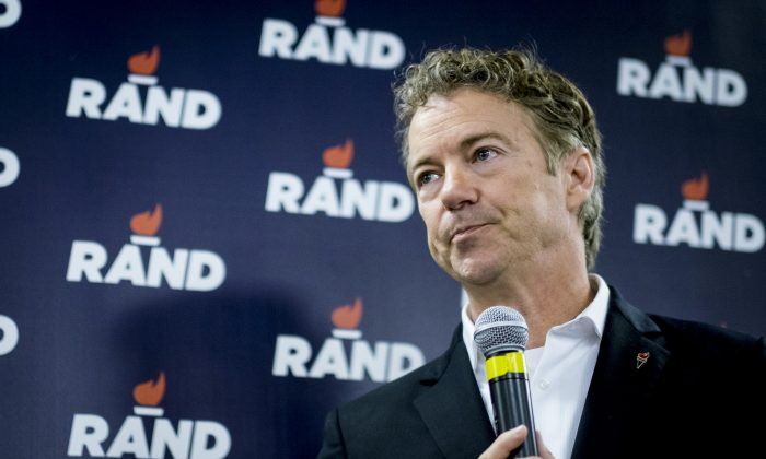 Senator  Rand Paul (R-TX) speaks during a caucus day rally at his Des Moines headquarters on February 1, 2016 in Des Moines, Iowa. (Pete Marovich/Getty Images)