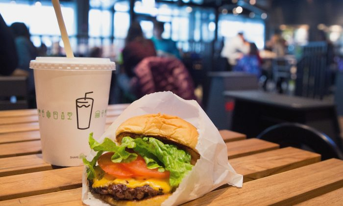 A cheeseburger and drink, served up at a Shake Shack restaurant in Chicago, Ill., on Jan. 28, 2015. (Scott Olson/Getty Images)