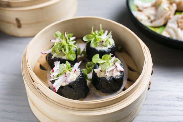 Chicken Dumplings With Charcoal Wrapper. (Samira Bouaou/Epoch Times)