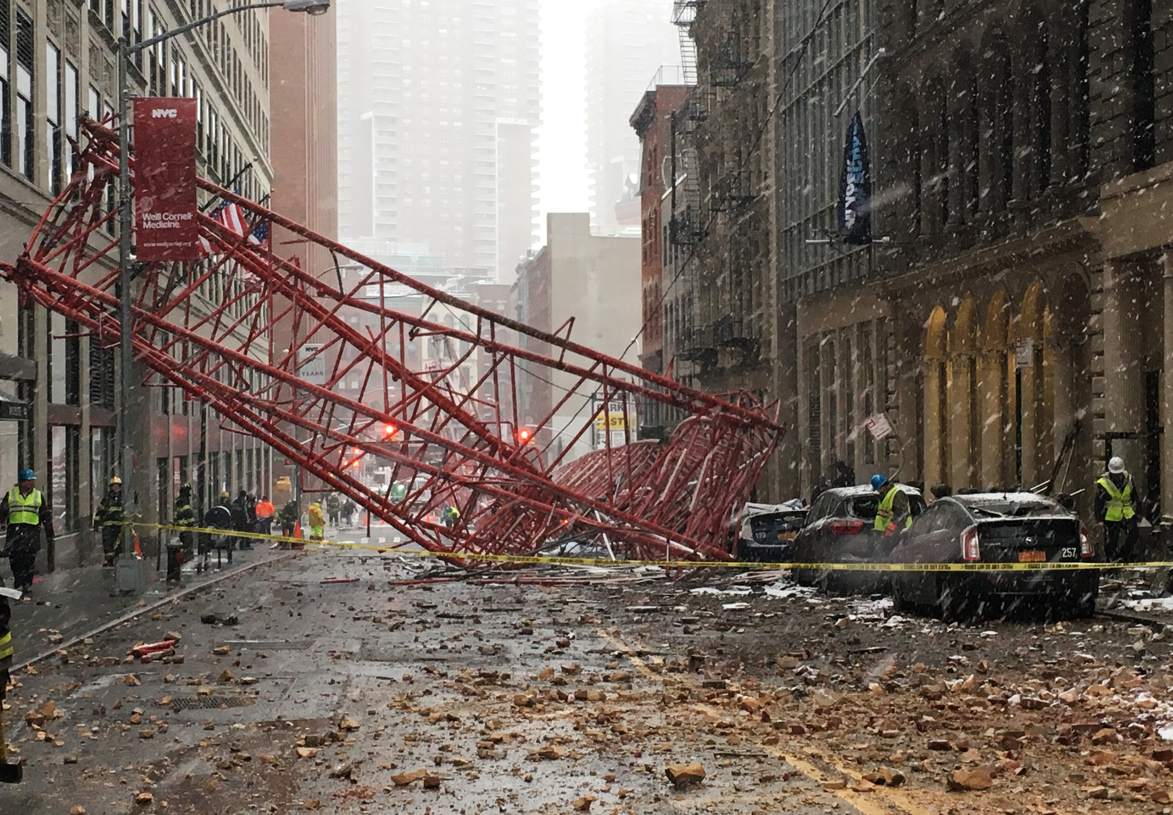 PHOTOS: Crane Collapses in New York, 1 Dead, Possible Gas Leak (Video)