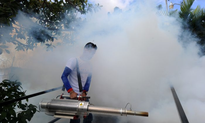 A young man helps soldiers in the fight against Aedes Aegypti mosquito that transmits Zika virus, as well as viral diseases such as dengue and chikungunya, in Tegucigalpa, Honduras, on Feb. 6, 2016. (Orlando Sierra/AFP/Getty Images)