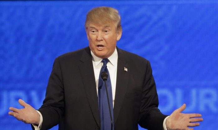 Republican presidential candidate, businessman Donald Trump at a Republican presidential primary debate hosted by ABC News at the St. Anselm College in Manchester, N.H., on Feb. 6, 2016. (AP Photo/David Goldman)