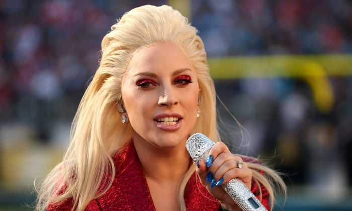 Lady Gaga sings the National Anthem at Super Bowl 50 at Levi's Stadium on February 7, 2016 in Santa Clara, California.  (Photo by Christopher Polk/Getty Images)