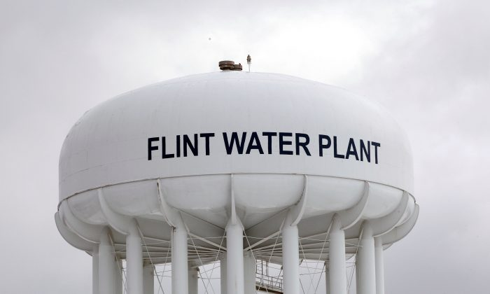 The Flint Water Plant tower in Flint, Mich., on Jan. 13, 2016. (Bill Pugliano/Getty Images)