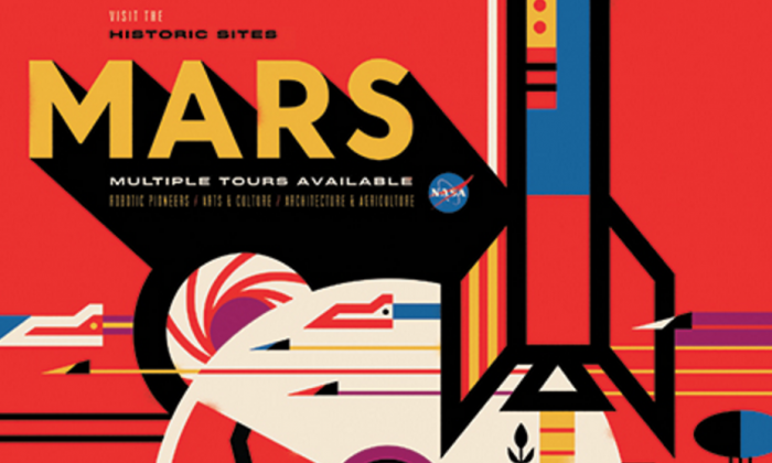 A section from a new Space Tourism poster commissioned by NASA (Invisible Creature).