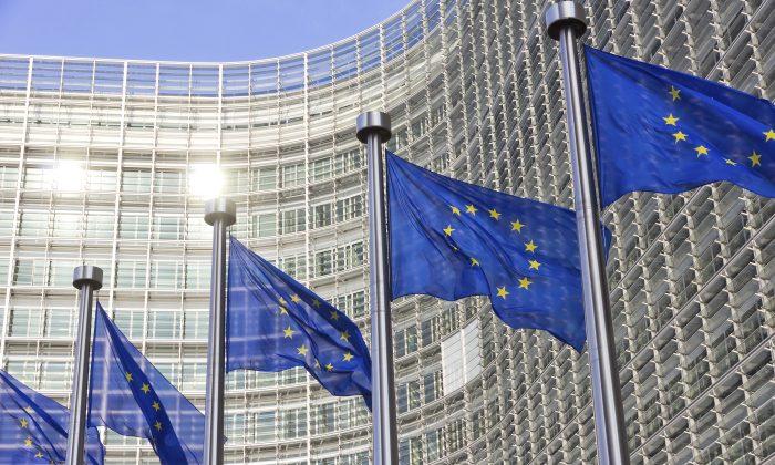 European Union flags in front of the EU Parliament building in Brussels, Belgium, on Jan. 27, 2015. (VanderWolf-Images/iStock)