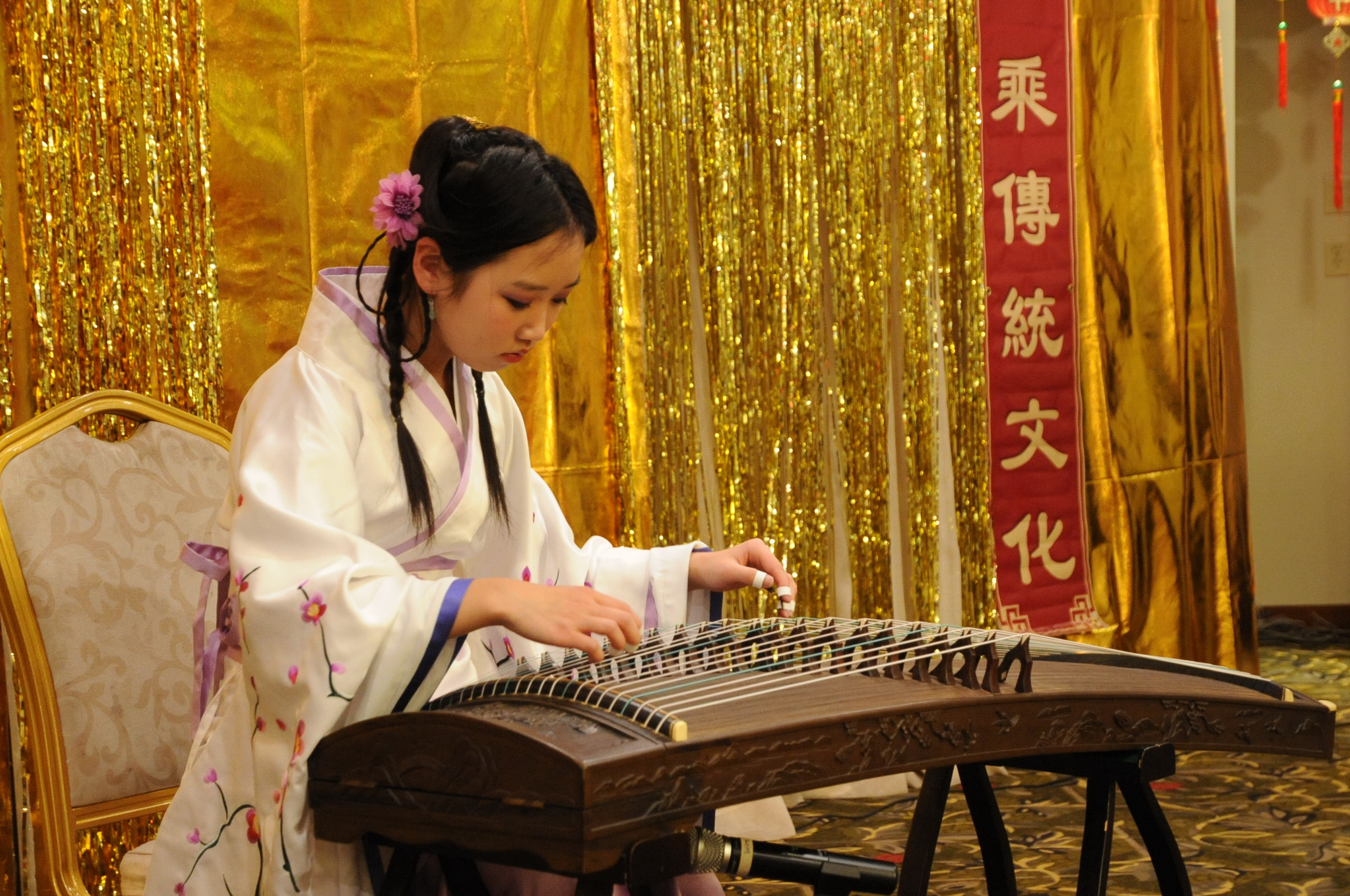A solo performance with guzheng, an ancient Chinese instrument, at the Epoch Times Chinese New Year celebration event in Edmonton on Feb. 6, 2016 (Jerry Wu/Epoch Times)