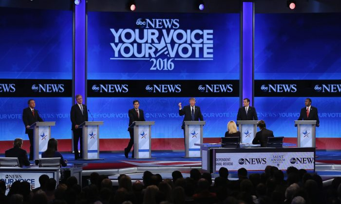 Republican presidential candidates (L-R) Ohio Gov. John Kasich, Jeb Bush, Sen. Marco Rubio (R-Fla.), Donald Trump, Sen. Ted Cruz (R-Texas), and Ben Carson participate in the Republican presidential debate at St. Anselm College in Manchester, N.H., on Feb. 6, 2016. (Joe Raedle/Getty Images)
