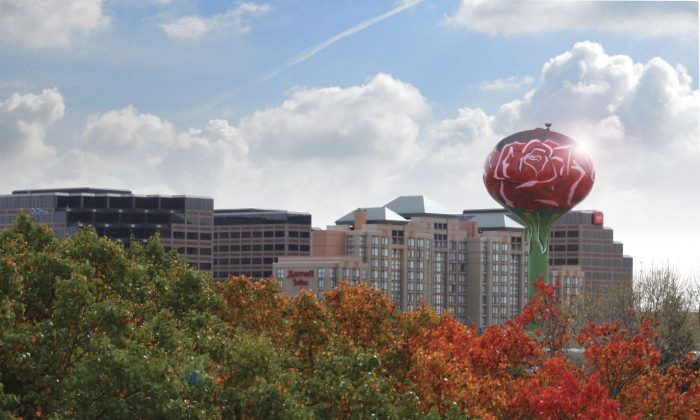 The rose painted water tower in the Village of Rosemont is a landmark for this entertainment suburb located outside of Chicago. (Photo/Courtesy of the Village of Rosemont)