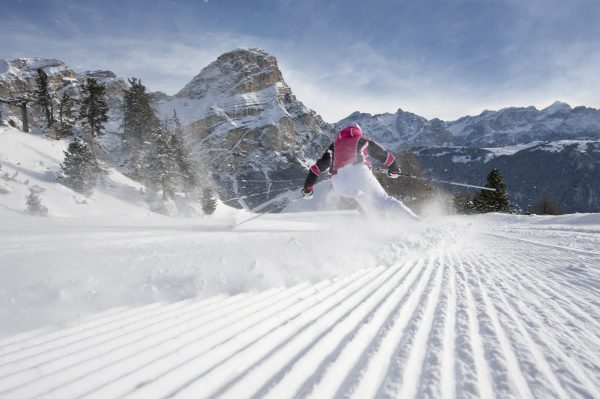 A skier glides down the Dolomites in south Tyrol, Italy. (Alex Filz)