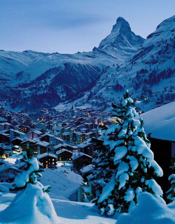 A winter's night in Zermatt, Switzerland. (Courtesy of Switzerland Tourism)