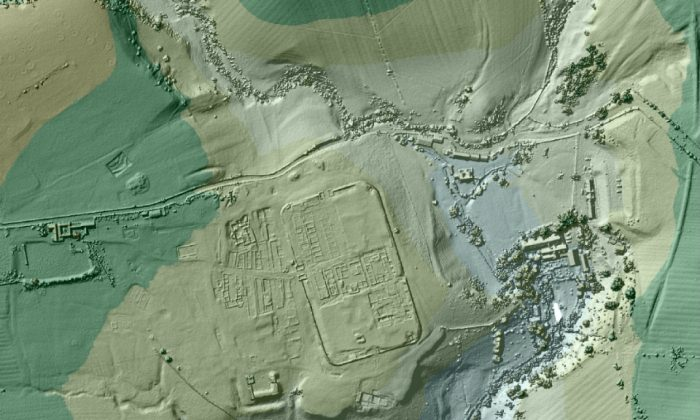 Vindolanda Roman fort imaged using LIDAR data. (UK Environmental Agency)