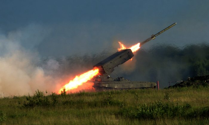 A Russian Heavy Flamethrower System TOS-1 fires during the 'Army-2015' international military forum in Kubinka, outside Moscow, on June 16, 2015. Russia is one of the few countries that still uses flamethrowers. (Vasily Maximov/AFP/Getty Images)