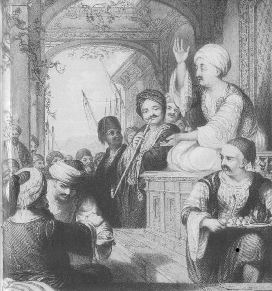 Storyteller (meddah) at a coffeehouse in the Ottoman Empire