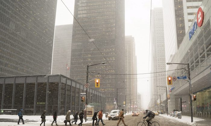 Commuters cross Bay Street in Toronto'sfinancialdistrict. The Canadian banks are surviving financial market turmoil better than their international counterparts once again. (The Canadian Press/Graeme Roy)