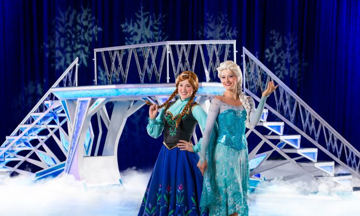 Amanda and Elsa from Frozen perform in 100 Years of Magic. Courtesy of Feld Entertainment