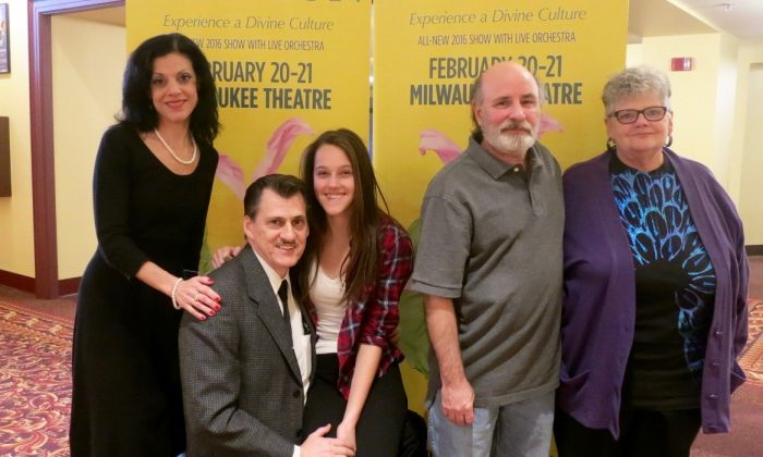 A family birthday celebration to see Shen Yun Performing Arts Touring Company's performance at the Milwaukee Theatre, on Feb. 20, 2016. (Stacey Tang/Epoch Times)