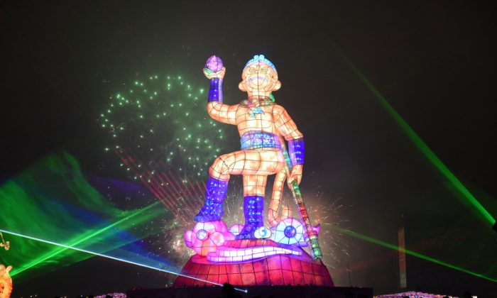 26-meter high monkey lantern in Taoyuan, Taiwan. (Central News Agency)