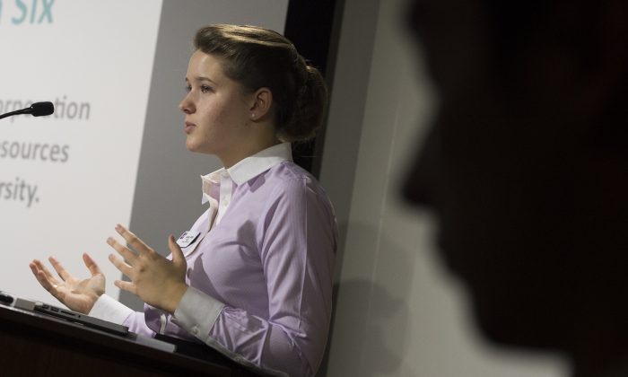 "American University student body president Sophia Wirth talks about the Sexual Assault Awareness and Prevention Task Force dealing with campus sexual assaults and violence during a school forum about the issue at American University in Washington, D.C., on Nov. 10, 2014. Last spring (2014), emails written by members of American University's Epsilon Iota fraternity were leaked, revealing to a horrified public the strategies—from manipulation to outright drugging—the brothers used to get sex. The messages from the members of the unofficial group at the campus in the US capital gave tips on targeting first-year female students—perceived to be more naive—and the best places to have sex without being seen. One email suggested inviting girls over for drinks before a party, so they ""would feel more relaxed and safe."" (Saul Loeb/AFP/Getty Images)"