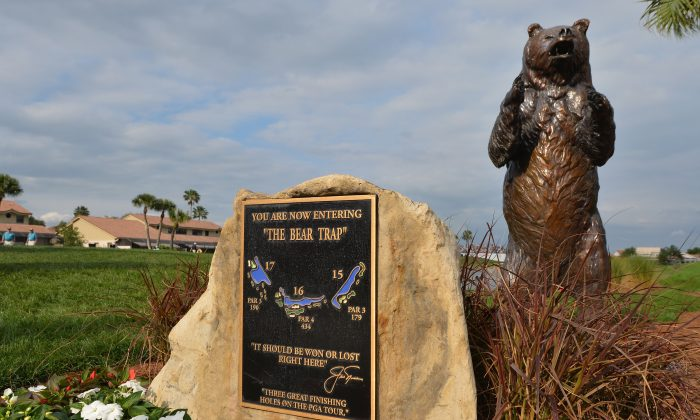 A sign displays the Bear Trap during the first round of The Honda Classic at PGA National Resort and Spa. (Stuart Franklin/Getty Images)
